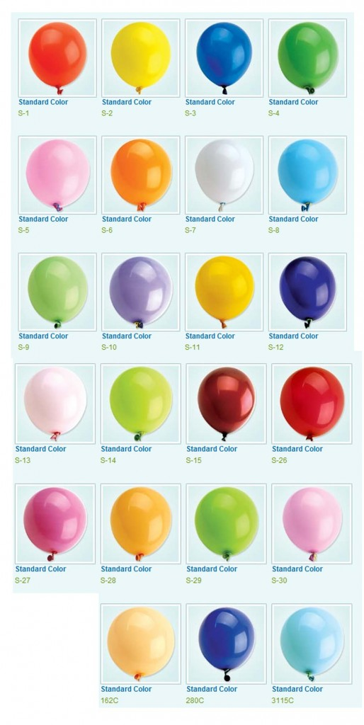 Colour Swatch - Std Balloons